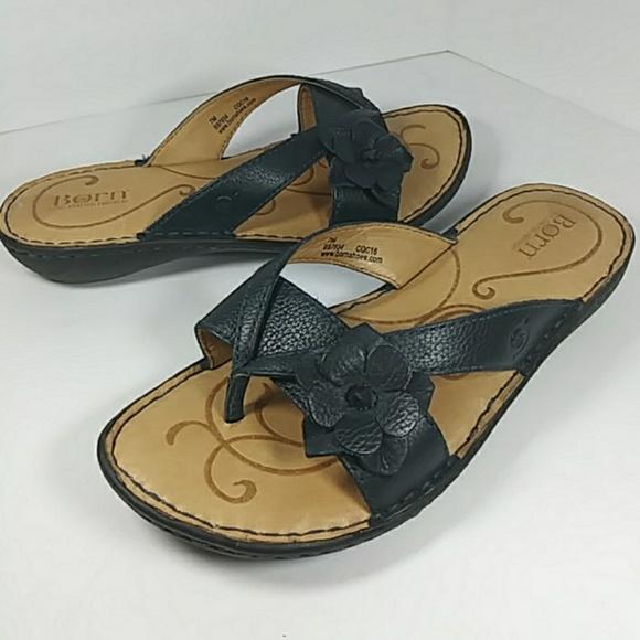 459cb5856c75 Born Shoes - Born Shoes Sandals Size 7 Navy Blue Thong Leather